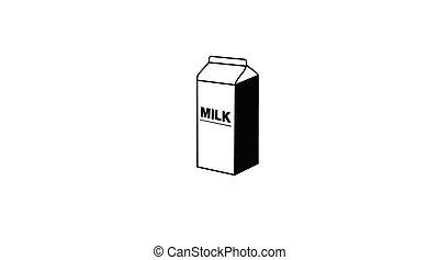 Black and White Milk Box Icon