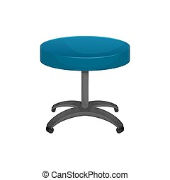 Vector isolated illustration of a round table on wheels. Office chair, dentist's chair.