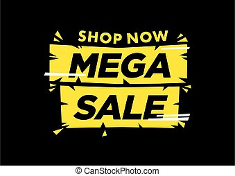Vector isolated illustration of a typography phase Mega Sale against black background.