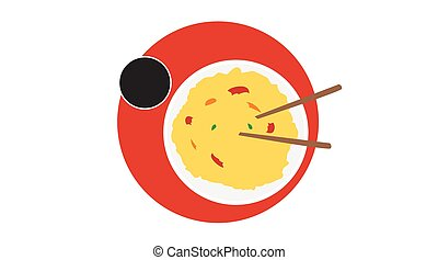 Vector Isolated Illustration of Asian Food. Asian Food Icon