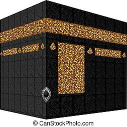 Vector. Isolated illustration of Kaaba, Mekka. Saudi Arabia....