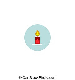 Vector isolated illustration. Red candle icon, sticker.