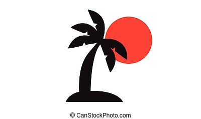 Palm Tree on an Island with a Sun