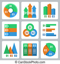 Vector isolated infographics related icons set