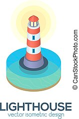 Vector isolated isometric lighthouse icon