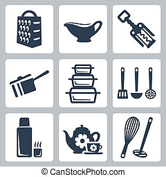 Vector isolated kitchenware icons set: grater, sauceboat, ...