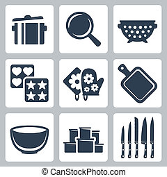 Vector isolated kitchenware icons set: pot, frying pan,...