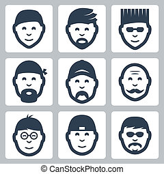 Vector isolated male faces icons set