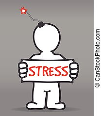 stressful state - vector isolated man in a stressful state