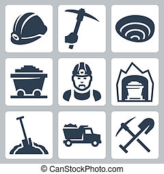 Vector isolated mining icons set
