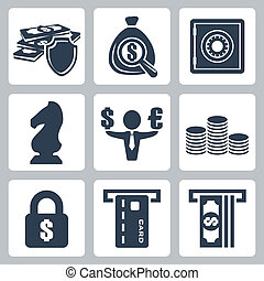 Vector isolated money icons set