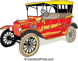 vector isolated old funny colored car