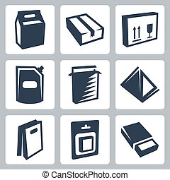 Vector isolated package icons set #2
