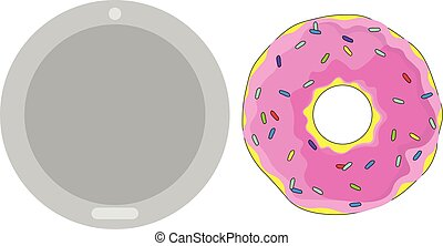 vector isolated pink frosting with multicolored sprinkles
