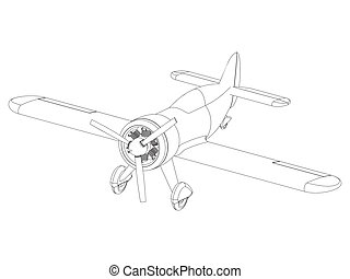Vector isolated propeller plane drawing. Clip art