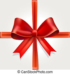 Vector Isolated Red Gift Bow with Ribbon