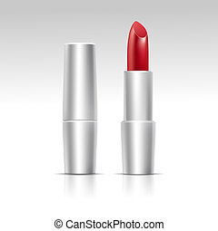 Vector Isolated Red Lipstick on White Background