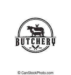 butchery - Vector isolated retro logo design butchery