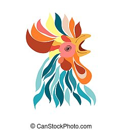 Vector Isolated rooster head
