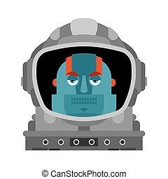 vector, isolated., ruimtevaarder, cyborg, illustratie, robot, spaceman.