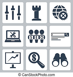 Vector isolated seo icons set #3