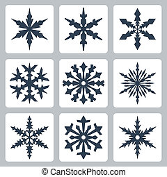 Vector isolated snowflakes icons set