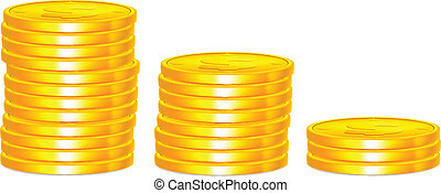Vector Isolated Stack of Gold Coins