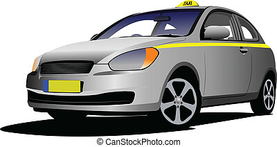Vector isolated taxi on white backg