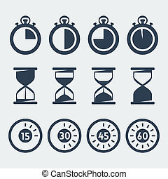 Vector isolated timers icons set