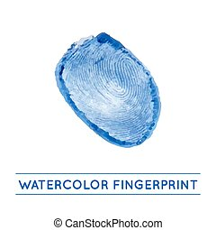 Vector isolated watercolor fingerprin
