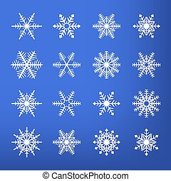 Vector isolated white snowflake set on blue background.