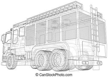 vector., isolated., wire-frame, 3d, camion, ligne, rendre, vecteur, pompe incendie