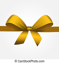 Vector Isolated Yellow Gift Bow with Ribbon