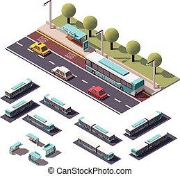 vector, isométrico, autobuses, conjunto