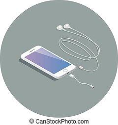 vector, isométrico, blanco, smartphone, con, auricular, adapter.