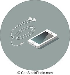 vector, isométrico, blanco, smartphone, con, headphones.
