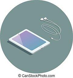 vector, isométrico, blanco, tableta, con, auriculares, 3d, plano, diseño, device.