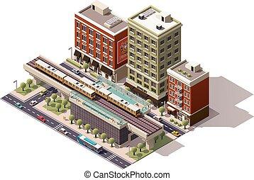 vector, isométrico, ciudad, estación de tren