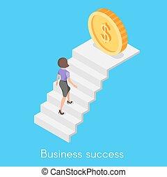 vector, isométrico, concepto, carrera del negocio, ladder., mujer, montañismo