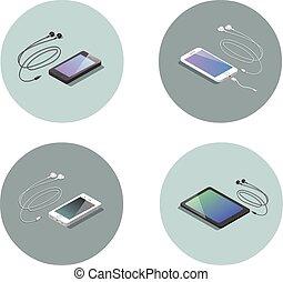 vector, isométrico, conjunto, de, electrónico, dispositivos, smartphone, con, headphones.