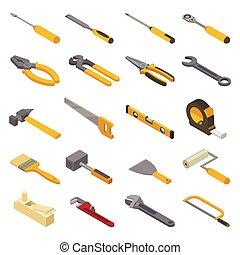 vector, isométrico, conjunto, industrial, taller, herramienta, aislado, ilustración, destornillador, llave inglesa, hand-saw, carpinteros, plano de fondo, handtools, construcción, alicates, blanco, mano, martillo, caja de herramientas