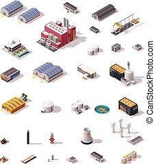 vector, isométrico, fábrica, edificios, conjunto