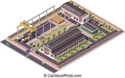vector, isométrico, fábrica, edificios, icono