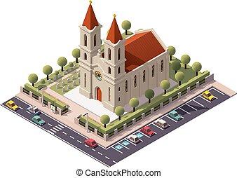 vector, isométrico, iglesia
