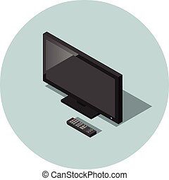 vector, isométrico, ilustración, de, negro, tv de pantalla plana, con, remoto, controller.