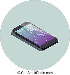 vector, isométrico, ilustración, de, smartphone, con, roto, screen.
