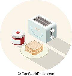 vector, isométrico, ilustración, de, tostadora, y, desayuno, con, tostadas, y, jam.