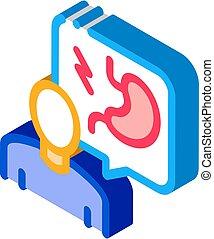 vector, isométrico, ilustración, gastroenterologist, icono, doctor