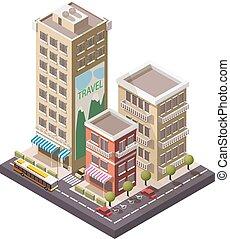vector, isométrico, industrial, y, empresa / negocio, ciudad
