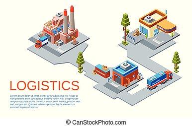 vector, isométrico, logística, transporte, concepto